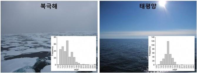 연구진이 북극해(왼쪽)와 태평양에서 관찰한 초미세먼지의 특성을 분석한 결과, 식물 플랑크톤의 활동이 활발한 북극해에는 흡습성을 가진 다양한 성분이 포함돼 있다는 사실을 확인했다. - 광주과학기술원(GIST), 극지연구소 제공